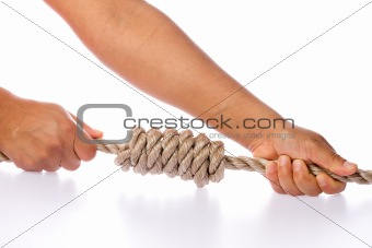 Hands Tightening Knot Isolated on White