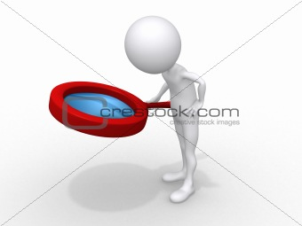 3d small people holds a magnifier. 3d image. Isolated white back