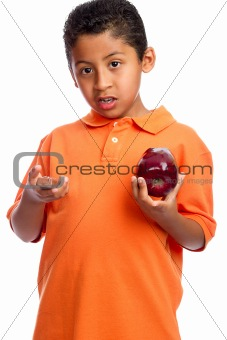 Boy Choosing Between Health and Junk Food Isolated on White Background