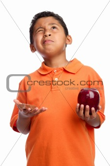 Boy Asking for Wisdom to Choose Food  Isolated on White Background
