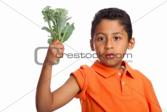 Grow Big Muscles Eating Your Broccoli  Isolated on White Background