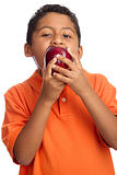 Child Biting on Big Apple  Isolated on White Background
