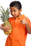 Child Holding Pineapple with Thumb Up  Isolated on White Background