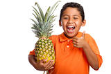 Child Smiling and Holding Pineapple with Thumb Up  Isolated on White Background