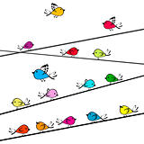 Colored doodle birds on strings