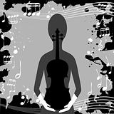 Grunge background with musical notes and woman holding a violin
