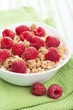 cereal with fresh raspberry