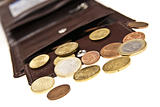 brown leather wallet and coins