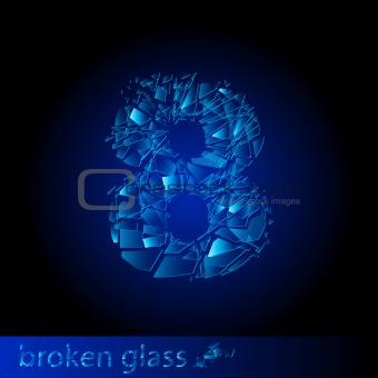 Broken glass  - digit eight