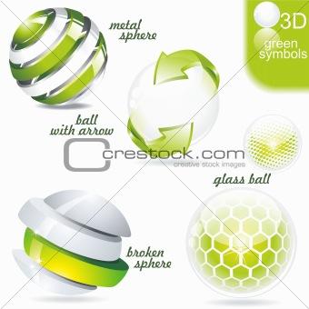 Green eco and bio symbols