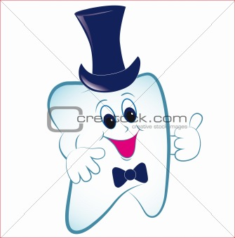 Cartoon tooth with thumb and hat.