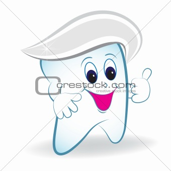 Cartoon tooth with thumb and toothpaste.