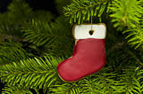 Present sock shape short bread cookie in Christmas tree