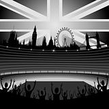 stadium with fans and London skyline - vector