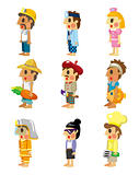 cartoon people job icons set 