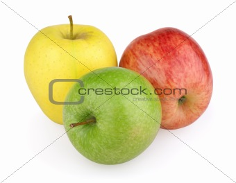 Three colorful apples