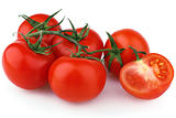 Red tomatoes isolated on white
