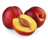 Two nectarines with half