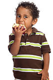 Child Eating Apple  Isolated on White Background