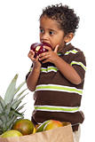 Small Child Eating Apple Picked from Grocery Bag Isolated on White Background