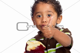 Toddler Eating Fruit and Giving Thumb Up Isolated on White Background