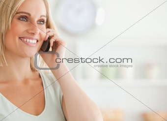 Close up of a cute woman on mobile