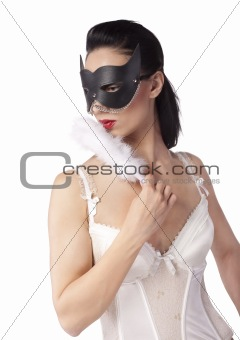 A girl in a black mask