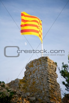catalan flag and moon