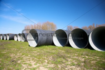 group of black big pipelines