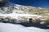 river on snow mountain at Gredos