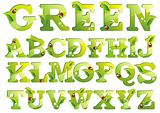Letters with green leaf