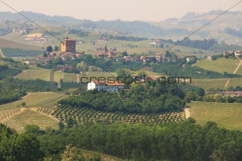 View in hills and vineyards of Piedmont.