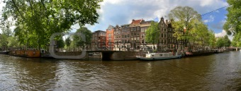Amsterdam city panoramic view.