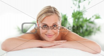 Close up of a woman lying on a lounger