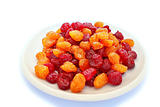 Dried red and yellow cherries