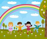 Kids in spring