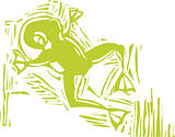 Woodcut Green Frog