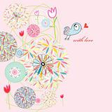 abstract postcard love bird