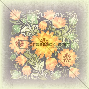 abstract grunge background with floral ornament