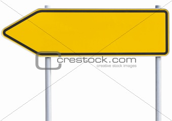 blank traffic sign - left arrow (clipping path included)