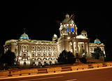Serbian parliament building, night scene