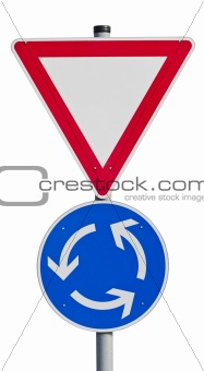 Give way sign with traffic circle (clipping path included)