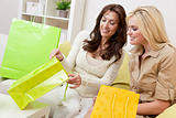 Two Beautiful Women Friends Looking in Shopping Bags at Home