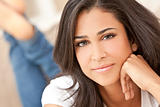 Beautiful Girl Thoughtful Young Hispanic Woman