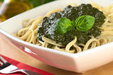 Fresh Homemade Pesto on Spaghetti