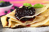 Pancake Filled with Blueberry Jam