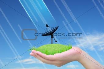 satellite dish on green grass in women hand
