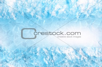 abstract ice cube and snow in blue light background