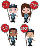 Children Police with Stop Signs
