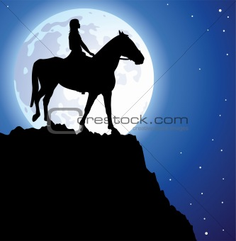 girl on the horse on top of the mountain